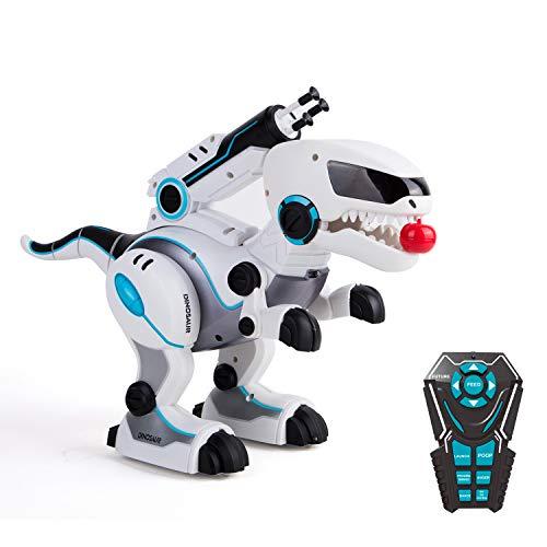 RC TECNIC Robot Dinosaurio Teledirigido Rocco | Come, Canta y Baila! Robot Juguete para Niños Programable con Mando Distancia Radiocontrol | Juguete Robotica Mascota Interactiva