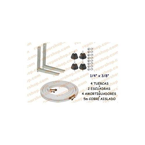 REPORSHOP - Kit Instalacion Amortiguadores Soportes 5m Cobre 1/4 3/8 Aire Acondicionado