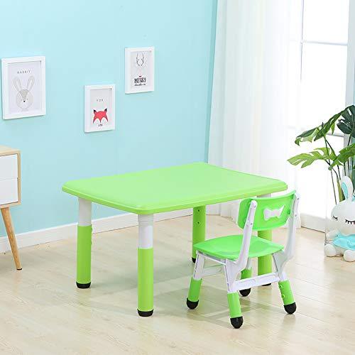 HJ-CGZ Kinder-Tisch und Stuhl Set, Höhenverstellbarkeit des Lernen der Kinder Aktivität Tisch und Stuhl, und Grundschule Schreiben Spielzeug heb- und absenkbar,Grün
