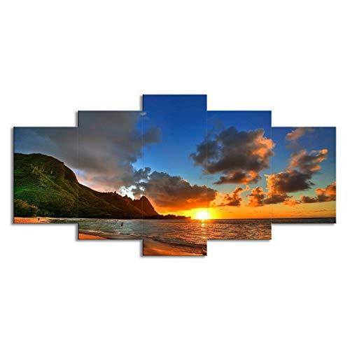 """WLWIN Bild 200x100 cm/ 78.8\""""x 39.4\"""",4 Größen erhältlich,Bild auf Leinwand fertig gerahmte Bilder 5 Teile,Kunstdrucke, Wandbilder ,Leinwandbilder,Geschenke, Sonnenuntergang"""