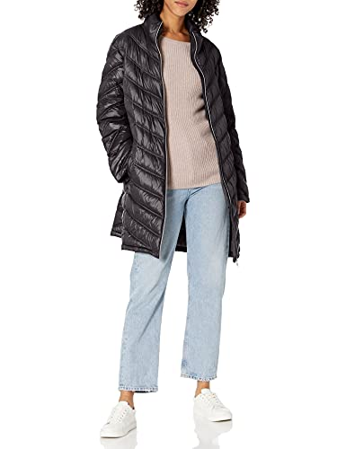 Calvin Klein Women's Chevron Quilted Packable Down Jacket (Standard and Plus), Black, Small