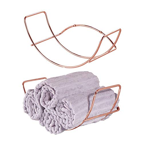 mDesign Modern Decorative Metal Bathroom Wall Mount Towel Rack Organizer for...