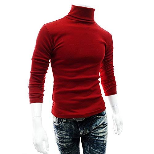 Txiangyang Plus Size Mannen Pullover met lange mouwen Hoge hals Coltrui Basic T-shirt T-shirt Top Knitwear