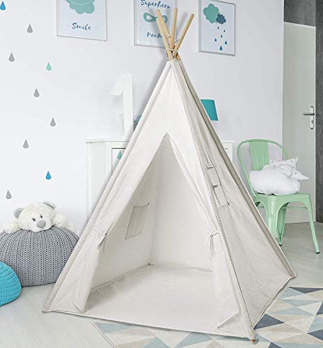 Teepee Tent for Kids | White Kids Teepee Tent | Tipi Tents Indoor Outdoor | Play Tent 5 Feet Tall - 4 Poles | Large Childrens Teepee Tents for Girls and Boys Kids