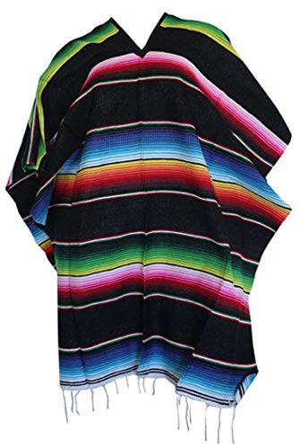 Del Mex Mexican Serape Adult Poncho (Black)
