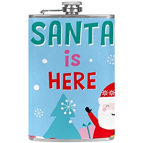 Petaca pequea para licor y embudo de acero inoxidable, a prueba de fugas, para vino, whisky, ron y vodka, Navidad, Santa is Here