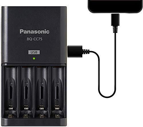 Panasonic BQ-CC75KSBHA Advanced Individual Battery Charger With USB Charging Port, Black