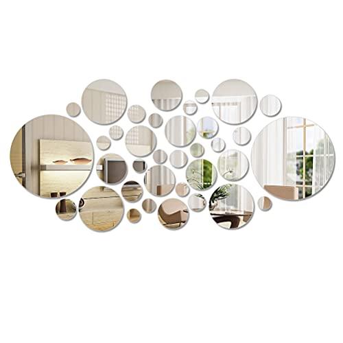 DODUOS 36pcs Espejo Desmontable Círculo Redondo de Espejo Pegatina de Pared Adornos Decoración Espejo Decorativo para Hogar Sala de Estar Dormitorio