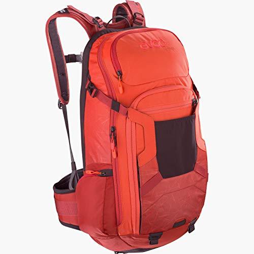 EVOC FR TRAIL 20 Protektor Rucksack Backpack für Bike-Touren & Trails (Größe: M/L, 20L Stauraum, LITESHIELD Rückenprotektor TÜV/GS zertifiziert, Trinksystemaufnahme bis 3L), Orange / Chili Rot