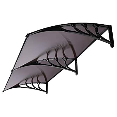 VIVOHOME Polycarbonate Window Door Awning Canopy Brown with Black Bracket 40 Inch x 80 Inch