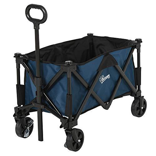 Outsunny Carro Plegable Carretilla de Transporte con Mango Ajustable Rueda Universal Freno para Jardín Playa Camping Marco Acero Carga 60 kg 84x40x79,5 cm