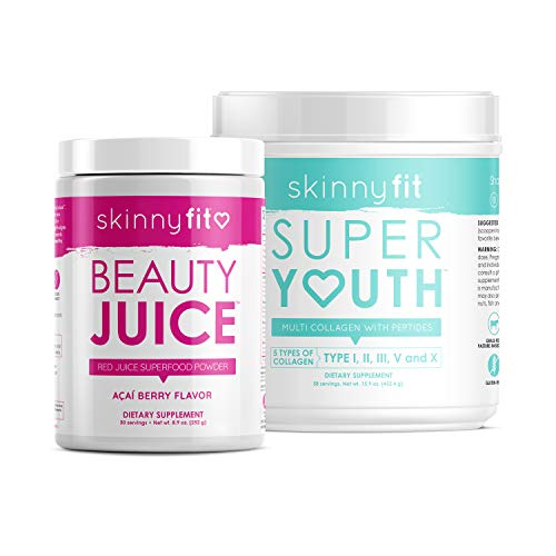 SkinnyFit Beauty Juice and Super Youth Unflavored, Superfood Powder & Collagen, Healthy Weight, Clear Skin, Stronger Hair & Nails, Joint & Bone Support, Supports Digestion, 88 Servings
