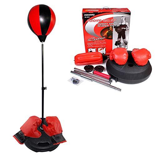 NANANA Punchingball Boxen Set Boxsack Erwachsene Freistehend Standboxsack mit Boxhandschuhe und Pumpe, Höhenverstellbar Boxsack Boxständer, Mehrfachauswahl,Redblack,A