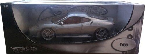 2006 Ferrari F430 diecast model car 1:18 scale diecast by Hot Wheels - Metallic Grey H3069