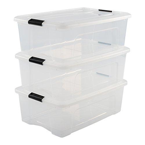 Iris Ohyama, 3er-Set stapelbare Aufbewahrungsboxen mit Klickverschluss - New Top Box NTB-30 - plastik, transparent, 3 x 30 L, L58 x B39,5 x H20,5 cm