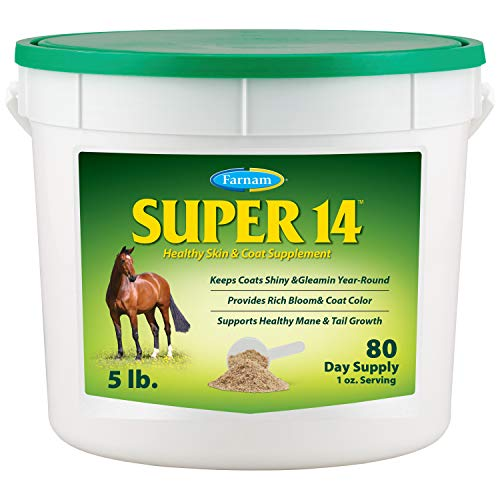 Farnam Super 14 Healthy Skin & Coat Supplement for Horses, Keeps Coats Shiny & Gleaming Year-Round 5 Pound, 80 Day Supply