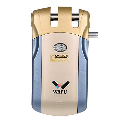 WAFU Smart Türschloss WF-010U Wireless Security unsichtbare Keyless Entry Tür Intelligente Lock Home Smart Fernbedienung Sperre iOS Android APP Entriegelung mit 4 Remote Keys, Blau&Gold