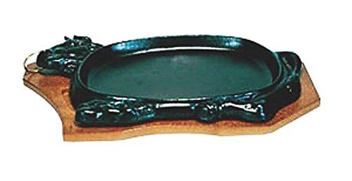 日本製 IH 対応 ステーキ 皿 セット 30cm 自宅でも使える プロ仕様 ハンバーグ スパゲティー 焼きそば など 鉄板焼 にも 木台 取り外し式 牛型