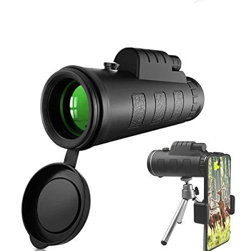 Telescopio Monocular, 40X60 BAK4 FMC Prisma Monocular Impermeable y Antivaho Monoculares para avistamiento Aves Caza Camping Concierto con Adaptador de Soporte para Smartphone y trípode