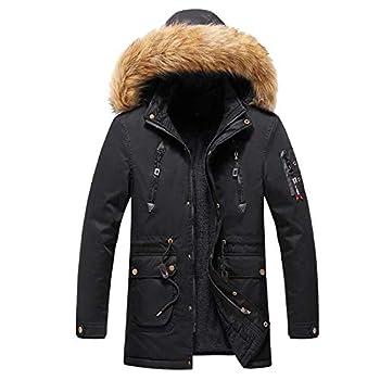 Sinifer Men s Winter Warm Faux Fur Lined Coat with Detachable Hood Hooded Softshell Thicken Cotton Jacket Warm Outwear for Windproof 6-Black 3XL