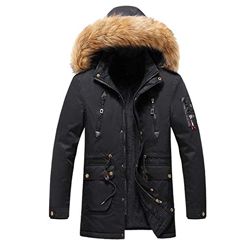 zitan Mens Winter Thicken Coat Faux Fur Lined Jacket with Removable Hood Men Hooded Parkas for Windproof Soft Coat Black