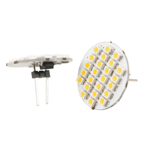 Yaootely 2 x Bombilla Luz de Coche 1210 SMD 24 LEDs Vertical G4 Blanco Calido Pin Trasero