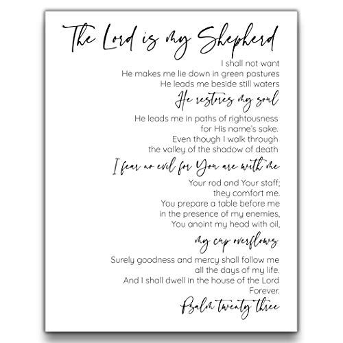 Psalm 23 - The Lord is My Shepherd Wall Decor   11x14 UNFRAMED Black and White Scripture Wall Art   Bible Verse Religious Typography Home Decor