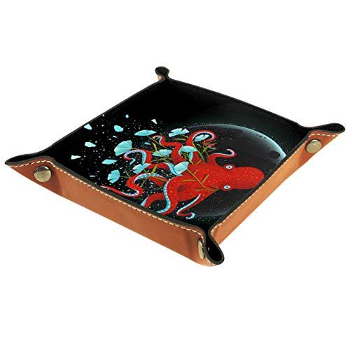 ZORE_FINE5 Bandejas cuadradas de cuero para joyas, juegos de dados con ruedas, bandeja para monedas y caramelos de almacenamiento plegable de 11,5 cm/4,5 en pulpo de dibujos animados
