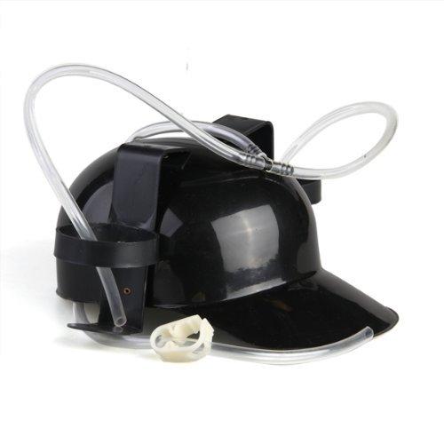 Casco Negro Plastico Beber cerveza Casco del sombrero del casquillo del coque