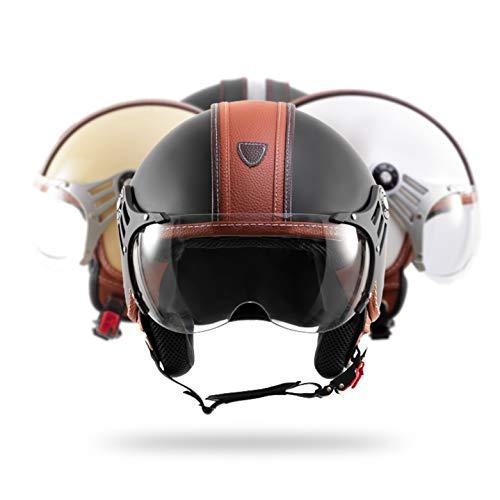 DIEFFE Casco Demjet Unisex Visiera Sole Sferica Antigraffio Scooter Moto Quad Omologato ECE 22 05 Sistema Di Ventilazione Regolabile Antiappannamento (XL, Vesuvius)