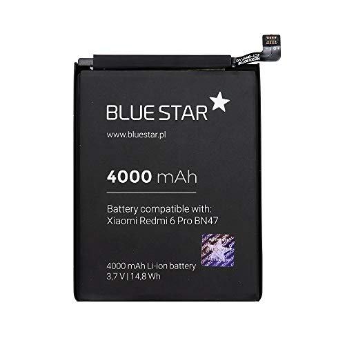 Blue Star Premium - Batería de Li-Ion Litio 4000 mAh de Capacidad Carga Rapida 2.0 Compatible con el Xiaomi Redmi 6 Pro / A2 Lite (BN47)