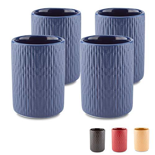 MELOX 4er Set Espressotassen 4X 90ml in den Farben schwarz, blau, rot, gelb | 4er Tassen-Set für Espresso und Macchiato | hochwertiges, dickwandiges Porzellan