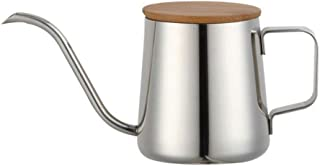 UPKOCH Stainless Steel Pour Over Kettle Handheld Long Narrow Spout Coffee Drip Pot with Wood Lid for Home Cafe