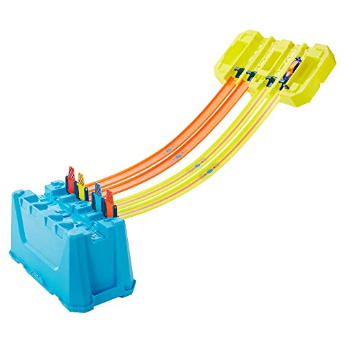 Hot Wheels Track Builder Gravity Speed Box with Launch Gate, Clamp 4 Lane Start Gate 2 Hot Wheels 1:64 Scale Vehicles
