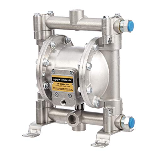 AmazonCommercial Heavy Duty Double Diaphragm Transfer Pump 1/2' Nitrile / NBR / Buna-N - 13GPM / 50LPM Aluminum Air Operated Pneumatic for Diesel, Grease, Kerosene & Oil