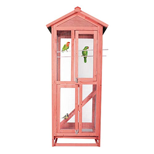 Vilobos Bird Cage,Pet Products Large Wooden Aviary Standing Vertical Play House with Bars for Parakeets Finches