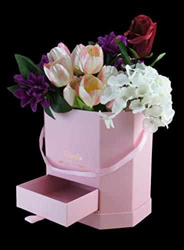 Bayli Caja decorativa con tapa, cordón y compartimento de regalo, caja de flores, caja de organización, caja de regalo, redonda, caja de regalo, caja de flores, caja de rosas, color rosa