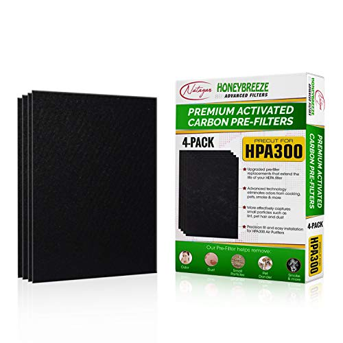 Natayan Pre-Cut HPA 300 Pre-Filters, Compatible w/Honeywell Purifier. Advanced Carbon Activated Filters, 4 Pack