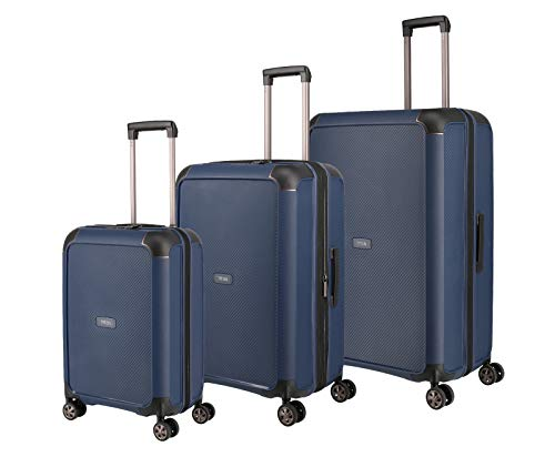 "TITAN ""COMPAX""-Trolleys von TITAN®: stabile Hartschalen-Koffer in futuristischer Optik in 3 Farben Koffer-Set, 77 cm, 222 l, Navy"