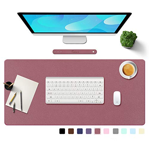 """TOWWI PU Leather Desk Pad with Suede Base, Multi-Color Non-Slip Mouse Pad, 36"""" x 17"""" Waterproof Desk Writing Mat, Large Desk Blotter Protector(Dark Pink)"""