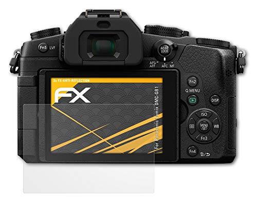atFoliX Panzerfolie kompatibel mit Panasonic Lumix DMC-G81 Schutzfolie, entspiegelnde & stoßdämpfende FX Folie (3X)
