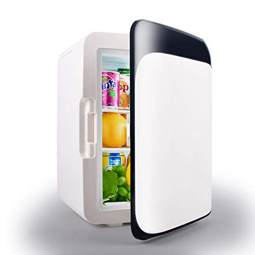 Mini Nevera PequeñaPortatilFrigorificos Pequeños10L Minibarcon Funciones De Refrigeración Y Calefacción 12V / 220V Refrigeración Mínima -5 Grados Refrigerador De Mesa,Negro