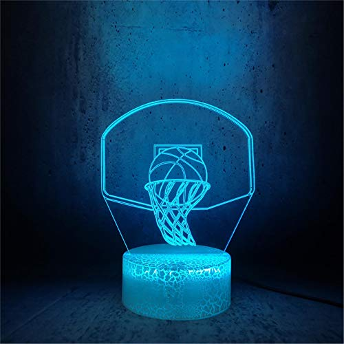 LBJZD luz de noche Lámpara Led De Canasta De Baloncesto, Iluminación Colorida, Habitación Para Adolescentes, Escritorio, Luz Nocturna, Ilusión 3D, Bombilla Deportiva Para Niños Con Mando A Distancia