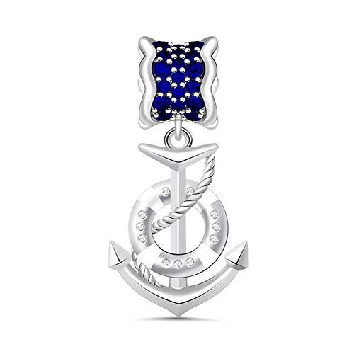 Colgante de plata de ley 925 con diseño de ancla de mar con zafiros oscuros para todas las marcas principales de pulseras, collar de cumpleaños, día de San Valentín, regalo para mujeres y niñas