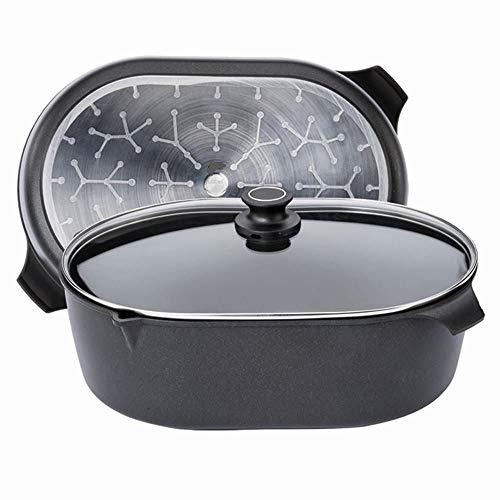 AMT Gastroguss fuente 33 x 22 cm de aluminio fundido para inducción, incluye tapa de cristal