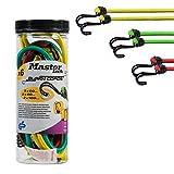 MASTER LOCK 6x Spanngummi-set [Umgekehrter Doppelhaken] - 3040EURDAT - 3 Farben Spanngurte mit haken...