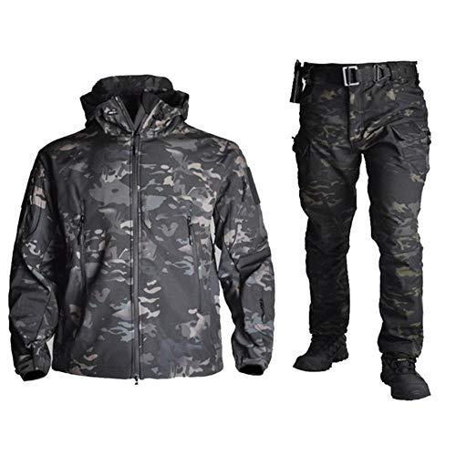 Muchen Veste tactique militaire imperméable à capuche et pantalon pour homme Motif camouflage Taille M