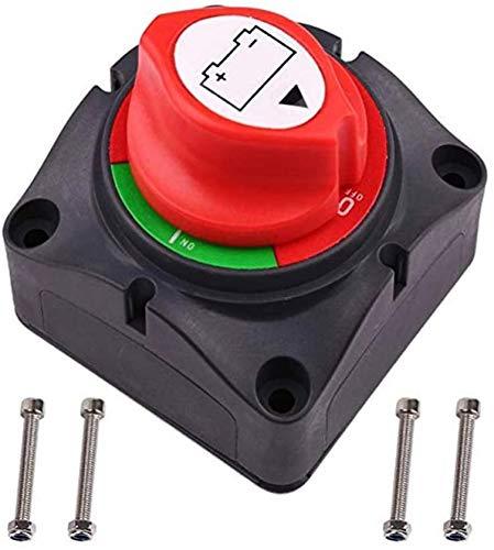 Batería Interruptor de Apagado, 300A Desconectador de Batería Master Power Corte Kill Interruptor Impermeable Marina Interruptor para Coche Barco Camión Atv Vehículos, con 4 Tornillos de Montaje
