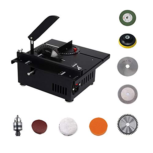 S SMAUTOP Mini scie à table Multifonctionnel Banc de scie Coupe Polissage et ensemble de gravure,...