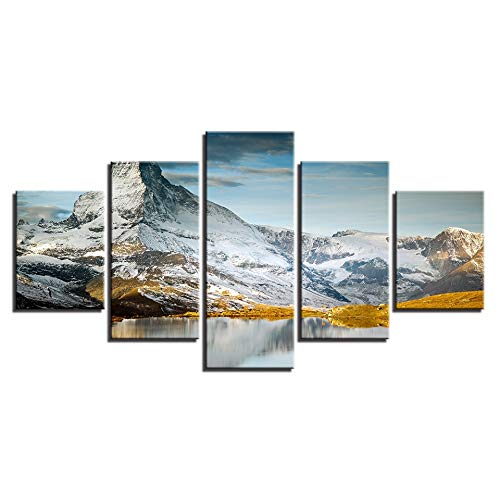 5 Canvas paintings HD Printed Canvas Poster Home Decor Mountain Peaks Landscape Art Painting Living Room Wall Pictures Frameless